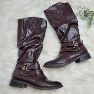 White Mountain Lioness Brown Mid Thigh Slouch Boot